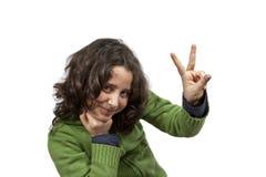 Tiener met vredesteken Royalty-vrije Stock Afbeeldingen