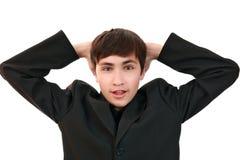 Tiener in onechte verschrikking Stock Afbeelding