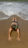 tiener op een strand Stock Foto