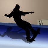 Tiener op skateboard royalty-vrije illustratie