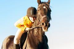 Tiener ruiter berijdende horseback klaar te springen trillend royalty-vrije stock afbeelding