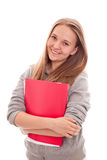 Glimlachend TienerSchoolmeisje op witte achtergrond royalty-vrije stock afbeeldingen