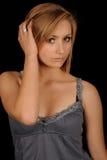 Tiener wat betreft blond haar Stock Afbeeldingen