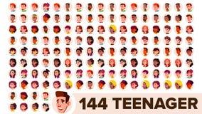 Tieneravatar Vastgestelde Vector Meisje, Kerel Multi Rassen Zie Emoties onder ogen Het multinationale Portret van Gebruikersmense vector illustratie