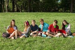 Tienerjaren die samen bestuderen stock afbeelding