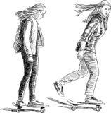 Tienerjaren op de skateboards Stock Foto's