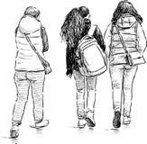 Tienerjaren op een wandeling royalty-vrije illustratie