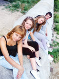 Tienerjaren op pijp Stock Foto