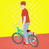 Tienerjongen op een fiets Realistische vectorillustratie Royalty-vrije Stock Foto's
