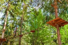 Tienerjongen op een kabelscursus in een treetop avonturenpark die de hangende hindernis van de kabelbrug overgaan stock fotografie