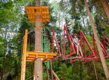 Tienerjongen op een kabelscursus in een treetop avonturenpark die de hangende hindernis van de kabelbrug overgaan stock foto's