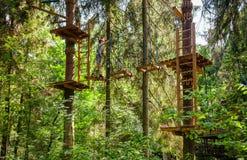 Tienerjongen op een kabelscursus in een treetop avonturenpark die hangende kabelhindernis overgaan stock fotografie