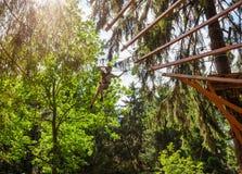 Tienerjongen op een kabelscursus in een treetop avonturenpark die zipline overgaan stock foto