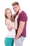 Tienerliefdeconcept - gelukkig glimlachend paar in geïsoleerde liefde Royalty-vrije Stock Fotografie
