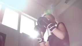 Tienermeisje in bokshandschoenen bij het in dozen doen de opleiding Langzame Motie stock video