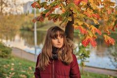 Tienermeisje die zich dichtbij mooie esdoorn bevinden Close-upportret van jong redheaded meisje in de herfstbos stock afbeeldingen
