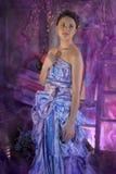 tienermeisje in een heldere gekleurde avondjurk Stock Fotografie
