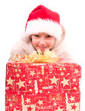 Tienermeisje met een Nieuwjaardoos Stock Afbeelding