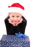 Tienermeisje met een Nieuwjaargift Stock Fotografie
