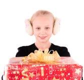 Tienermeisje met een Nieuwjaargift Royalty-vrije Stock Foto's