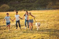 Tieners met hond in park Stock Fotografie
