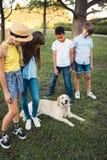 Tieners met hond in park Stock Afbeelding