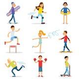 Tienerskinderen die geplaatste sporten spelen De vectorillustraties van de kinderenfysische activiteit stock illustratie