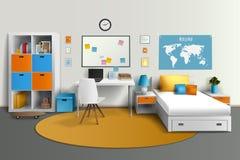 Tienerzaal Binnenlands Ontwerp Realistisch Beeld vector illustratie