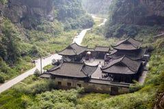 Tienfu takvåning Wulong Chongqing China arkivfoto