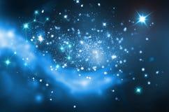 Tient le premier rôle le fond de bleu d'espace lointain Images libres de droits