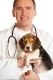 Tierärztlicher Doktor und ein Spürhundwelpe Lizenzfreie Stockfotos