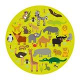 Tier-Afrika-Papagei Hyänen-Nashorn-Zebra Lizenzfreies Stockfoto