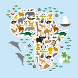 Tier-Afrika: plappern Sie Hyänen-Nashorn-Zebra-Nilpferd-Krokodil-Schildkröten-Elefant-Mambaschlangenkamelmoskito tsetse Strauß le Stockfoto