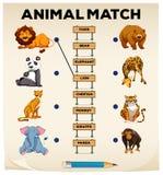 Tier, das mit Bildern und Wörtern zusammenpaßt lizenzfreie abbildung