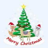 Tier in der Winterweihnachtskarte vektor abbildung