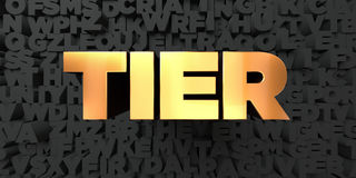 Tier - Gold text on black background - 3D rendered royalty free stock picture Royalty Free Stock Images