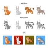 Tier-, inländische, wilde und anderenetzikone in der Karikatur, flache, einfarbige Art Zoo, Spielwaren, Kinder, Ikonen im Satz Stockbilder