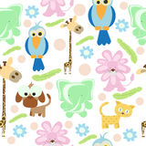 Tier kritzelt nahtlosen Hintergrund Stockbilder