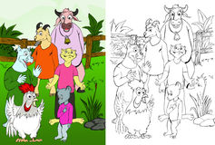 Tier-Kuh-Ziege-Hund-Katze-Maus-Huhn Stockfoto