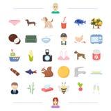 Tier, Lebensmittel und andere Netzikone in der Karikaturart Auftritt, Produktikonen in der Satzsammlung Lizenzfreies Stockbild