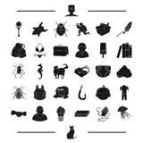 Tier, Rest, Kindheit und andere Netzikone in der schwarzen Art Spiel, surfende Ikonen in der Satzsammlung Stockbilder