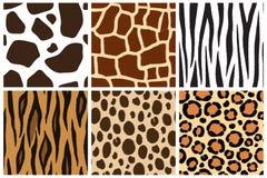 Tier skin Nahtlose Muster für Design Kuh, Giraffe, Zebra, Tiger, Gepard, Leopard Stockfotografie