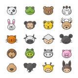 Tier und Zeichentrickfilm-Figuren eingestellt von den Haustier-Farbikonen-Art-bunten flachen Ikonen Lizenzfreies Stockfoto