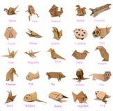 Tier von Origamipapieren Lizenzfreies Stockfoto