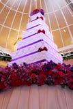 Tier white and purple square wedding cake Stock Photos