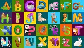 Tieralphabet stellte für Kinderabc-Bildung in der Vorschule ein Lizenzfreie Stockbilder