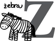 Tieralphabet Z (Zebra) Lizenzfreie Stockfotos