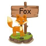 Tieralphabetbuchstabe F für Fuchs Stockbild