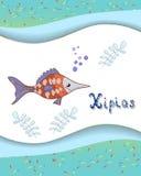 Tieralphabetbuchstabe X und xipias mit gefärbt lizenzfreie abbildung
