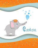 Tieralphabetelefant mit einem farbigen Hintergrund Lizenzfreies Stockfoto